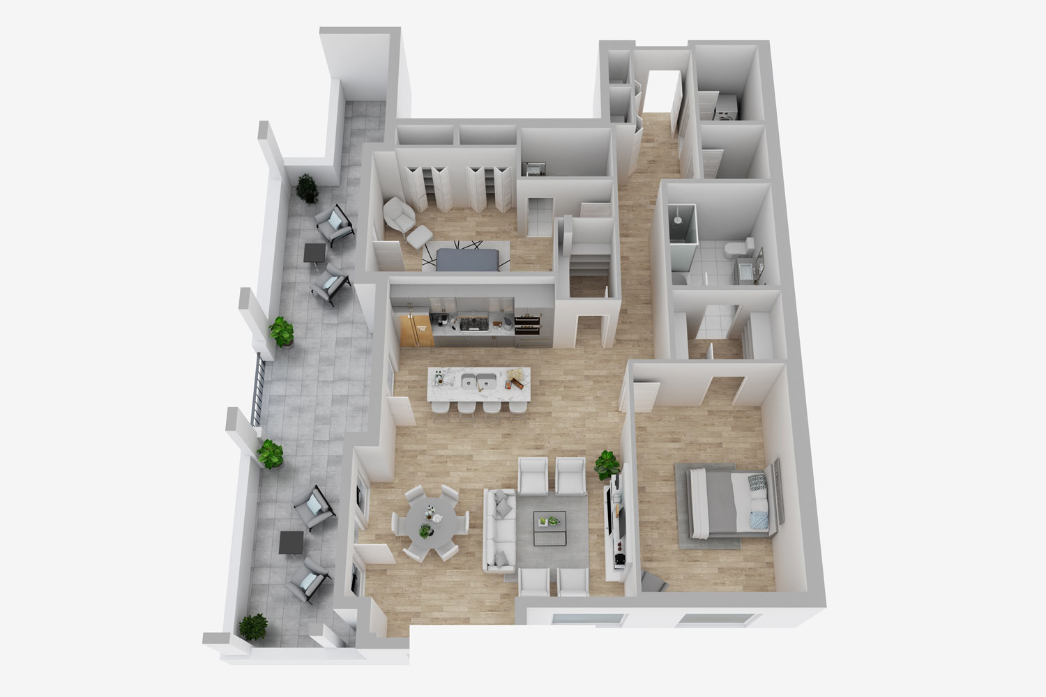 an interior 3x rendering of a real estate home for sale