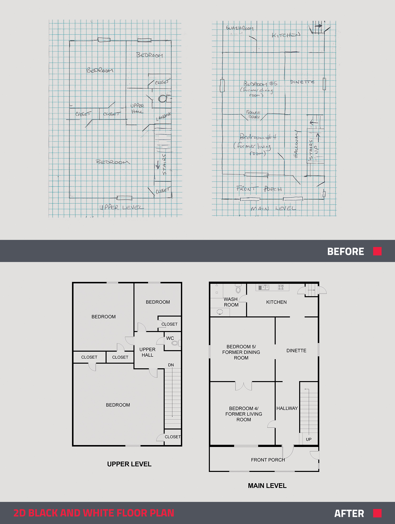 before and after of a floor plan design