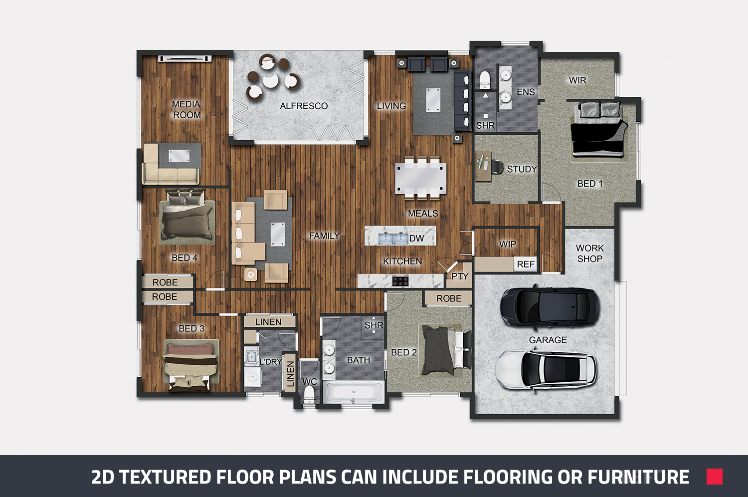 2d textured floor plan that includes flooring and furniture