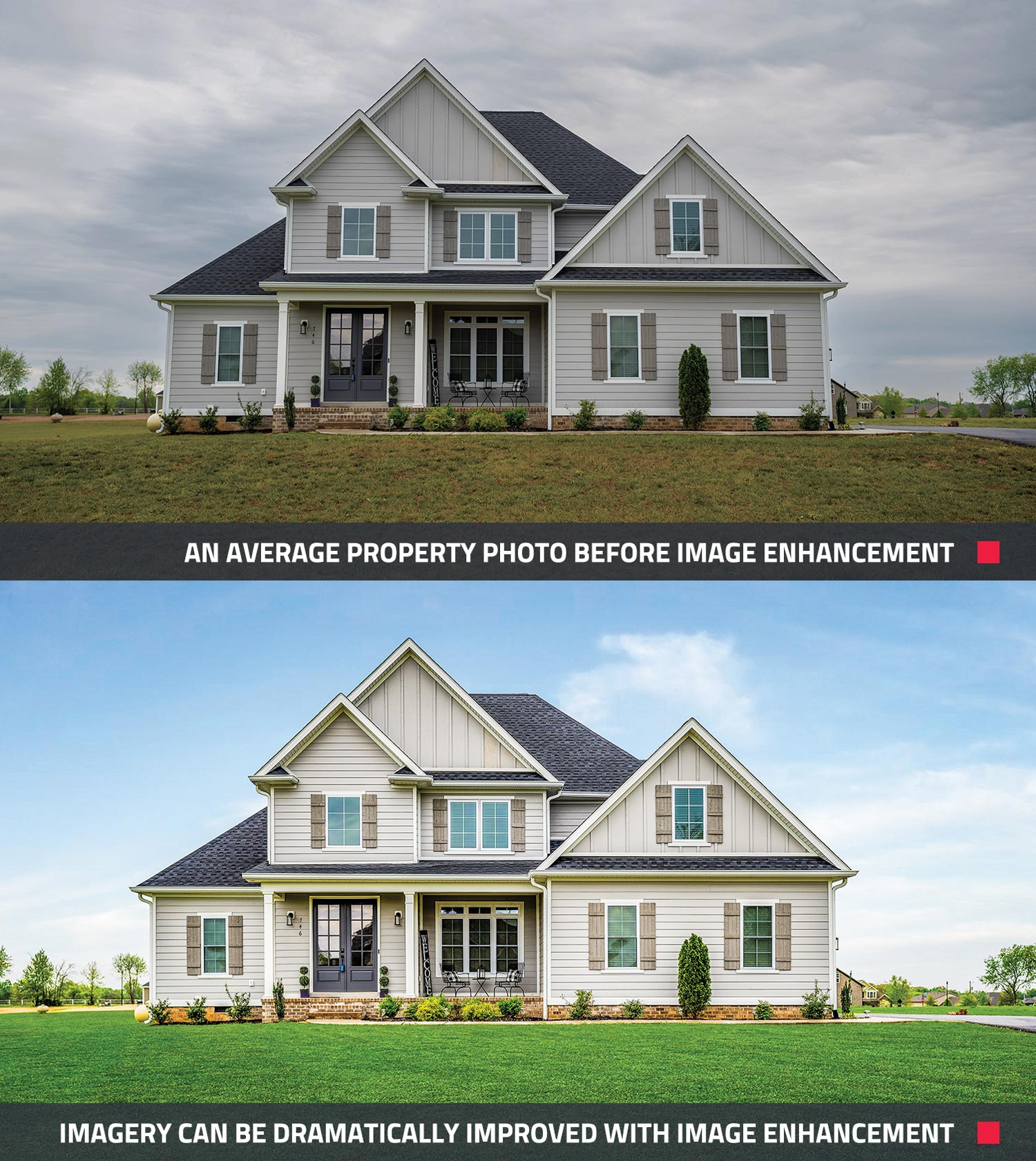 before and after of what image enhancement can do to a property in real estate