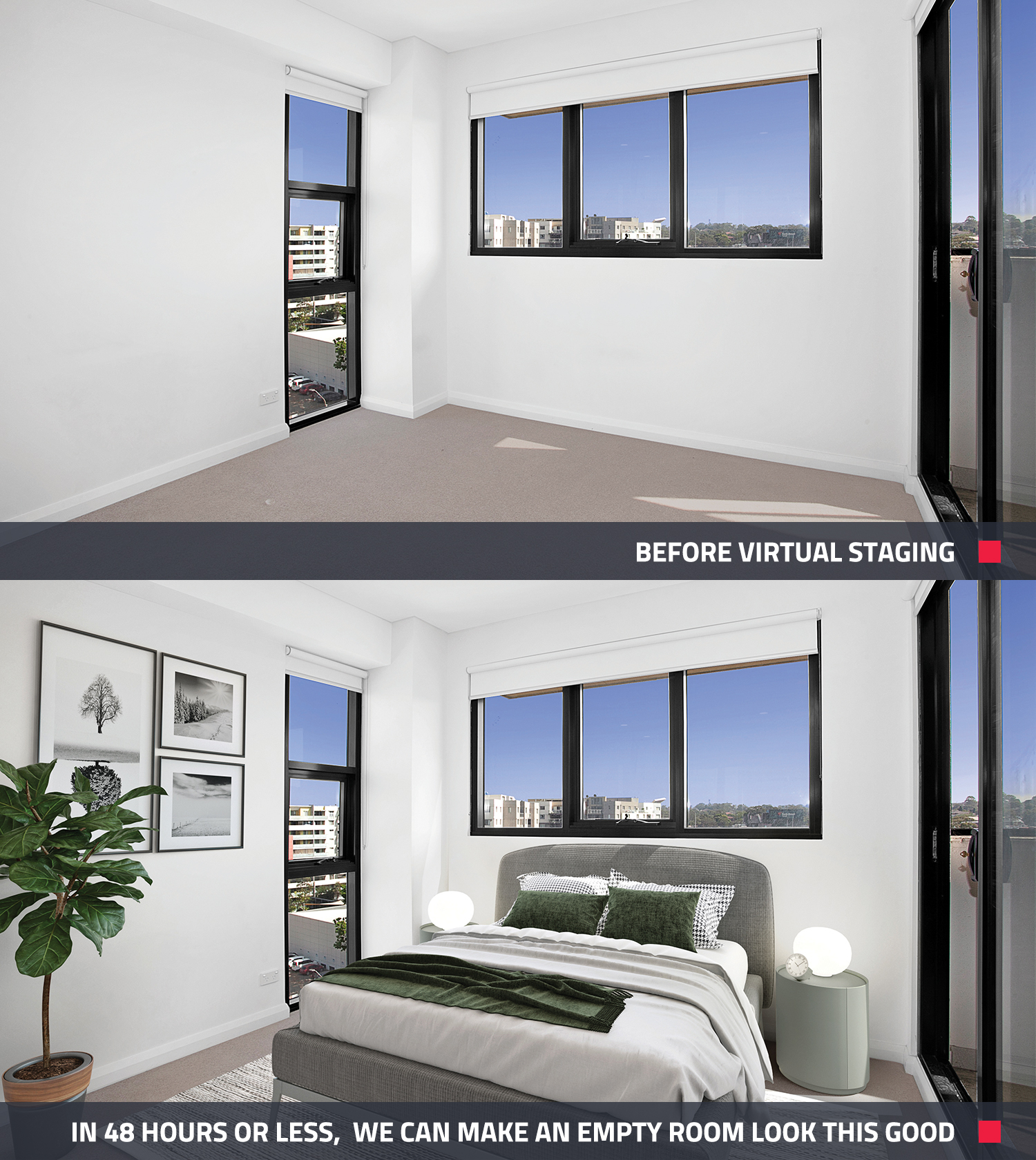 The before and after view of a bedroom when it is virtually staged