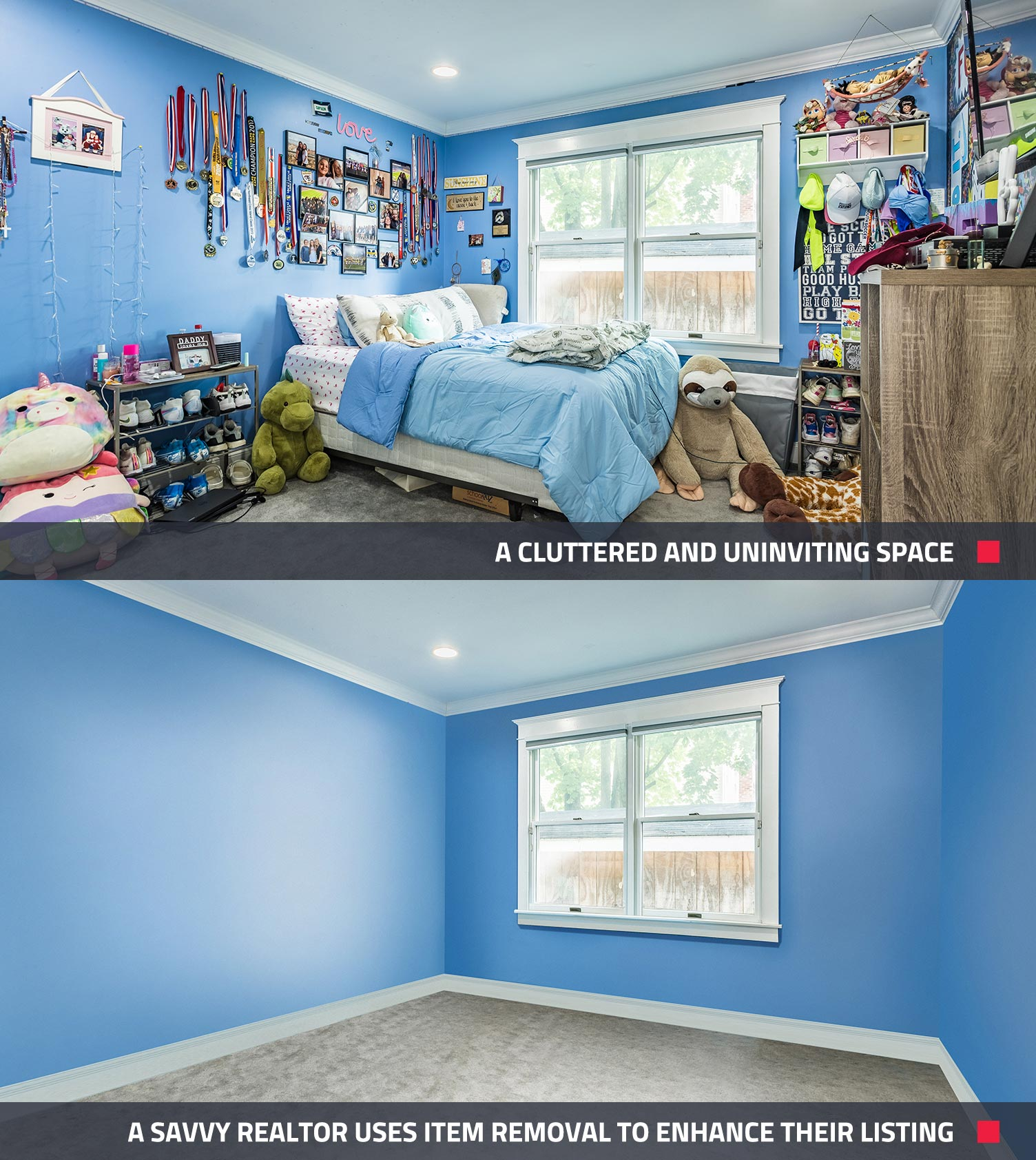 before and after of what an image enhancement can do to real estate photos