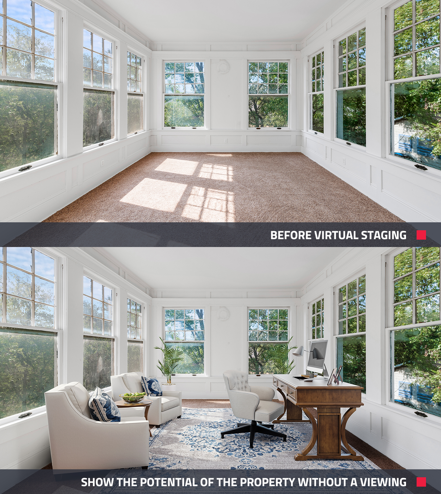 before and after of a virtual staging in real estate