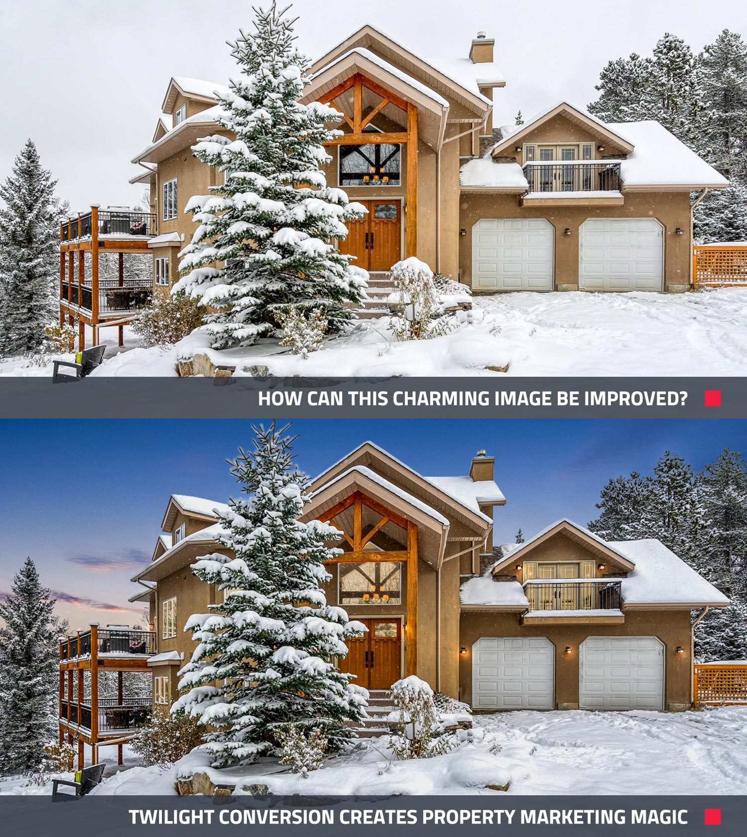 before and after of enhancing an image to make it more appealing online for real estate
